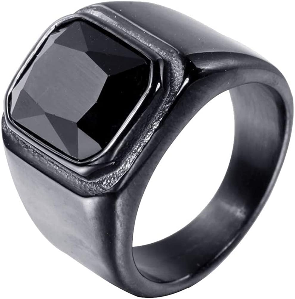 PMTIER Men's Stainless Steel Gold Plated Ring with Square Gemstone Blue Black
