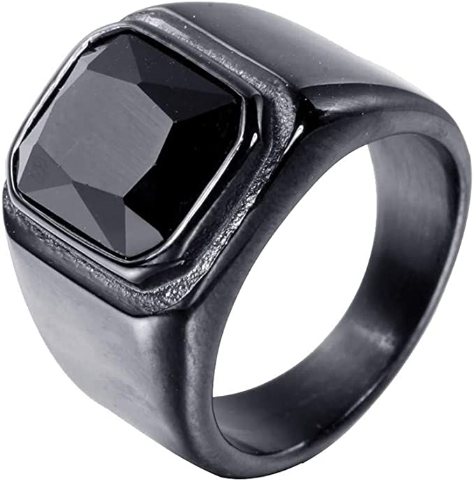 Four Square Crystal Stones Gold EP Mens Stainless Steel Ring