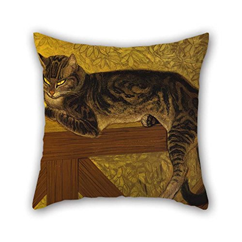 eyeselect Pillow Covers of Oil Painting Th??ophile Alexandre Steinlen - Summer- Cat On A Balustrade 20 X 20 Inches / 50 by 50 cm Best Fit for Kitchen Indoor Home Theater Festival Bar Club Each Side - Ecru Infant Rocker