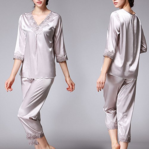 Zhhlinyuan Comfortable V-collar Sleepwear Home Clothing Womens Luxury Pajama Set Gray