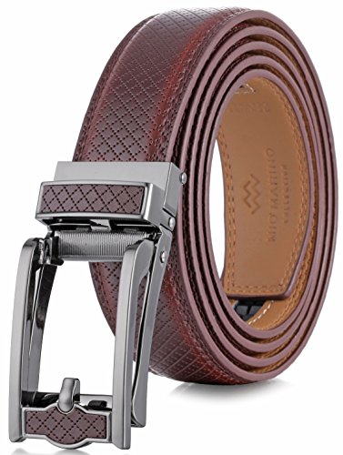 - Marino Avenue Mens Genuine Leather Ratchet Dress Belt with Open Linxx Leather Buckle, Enclosed in an Elegant Gift Box - Mahogany - Style 140 - Custom Up to 44