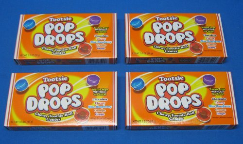 Orange Tootsie Roll (Tootsie Pop Drops Retro Candy Theater Box 4 Boxes)