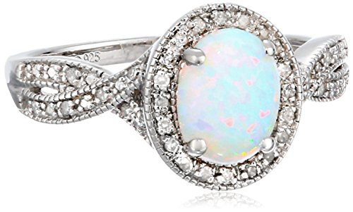 Sterling Silver, Created Opal, and Diamond (1/10 cttw, I-J Color, I3 Clarity) Ring, Size 7