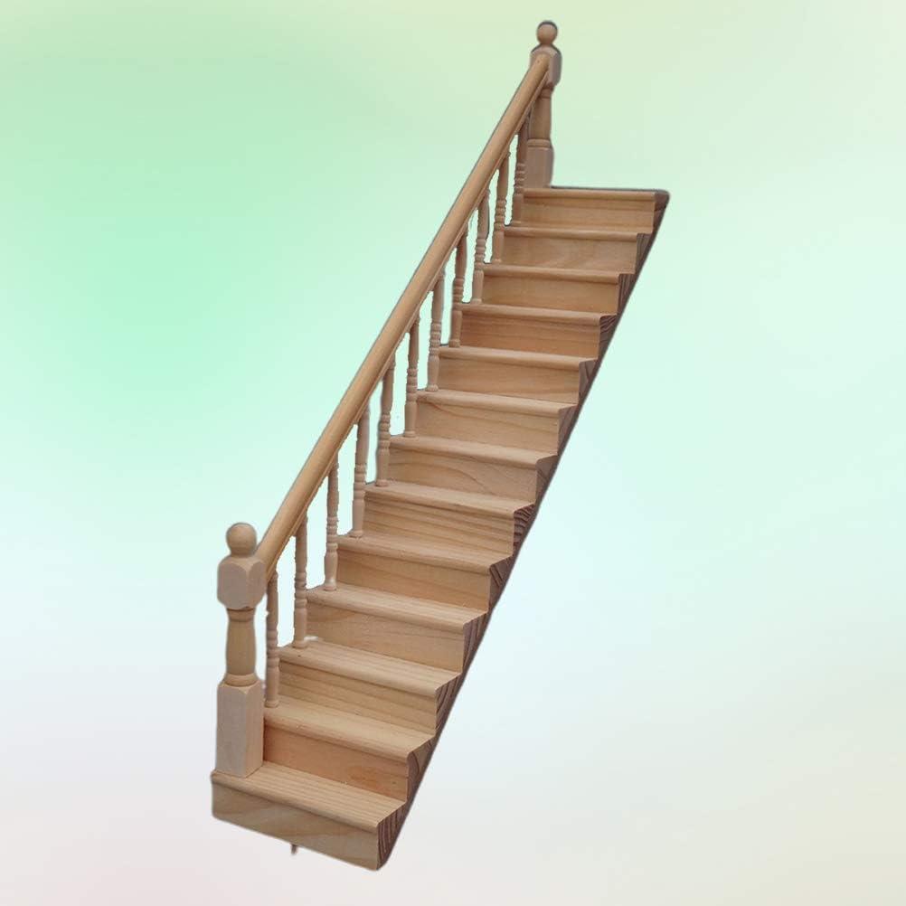 TOYANDONA Escalera izquierda de madera miniatura Modelo miniatura Casa Decor: Amazon.es: Bricolaje y herramientas