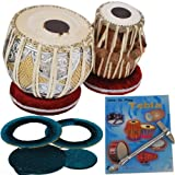 Queen Brass Tabla_Drums Set-Designer_Brass 2.5Kg_Bayan-Sheesham Dayan Case/Book/Hammer