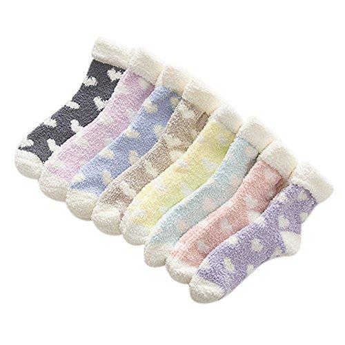 Price comparison product image VWU 6 Pairs Girls Thick Coral Velvet Socks Winter Cuff Socks Sleep Socks