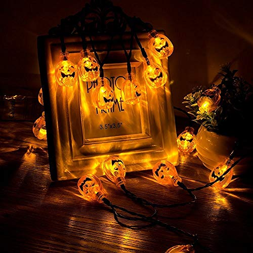 SISIMOM Halloween String Lights,10/20/40 LED Pumpkin Lights, Lantern Halloween Pumpkin Lights Decor Indoor Outdoor Party Ideas(Warmlight) (8ft 20leds)