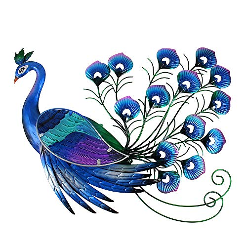 (Liffy Peacock Decor Metal Outdoor Wall Art Glass Hanging Decorations Blue for Home Garden Living)