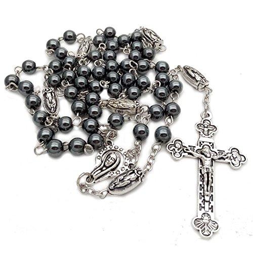 6mm Non Magnetic Hematite Beads Necklace Madonna Retro Cross Catholic Religious Rosary Beads