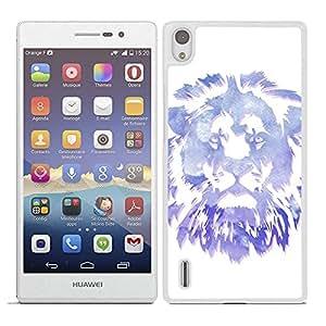Funda carcasa para Huawei P7 diseño león colores borde blanco
