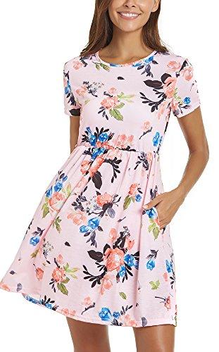 JOELLYUS Womens Floral T Shirt Dresses Empire Waist Short Sleeve Dress with Pockets (Pink, (Empire Waist Floral Tunic)