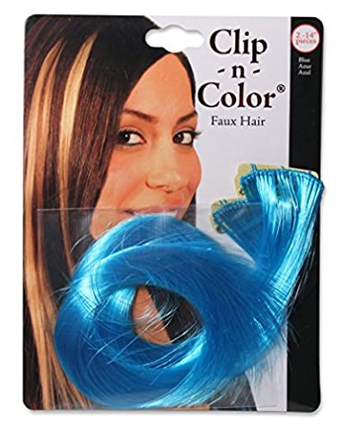 Mia Clip-n-Color-Clip On Colored Hair Extensions Made Of Synthetic/Faux/Fake Wig Hair-Electric Blue Color-Includes 2 - 14