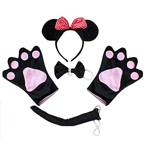 Minnie Mouse Ears And Glove Set (TopTie Set of 4 PCS Headband, Ears Bow Tie Gloves Tail Party Hair Accessory-Minnie Mouse)