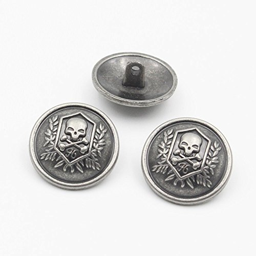 YaHoGa 11 Pieces Antique Silver Blazer Buttons Skull for Blazers Suits Sport Coats 21mm 15mm Silver Metal Blazer Buttons Set for Men (Skull) - Antique Coat