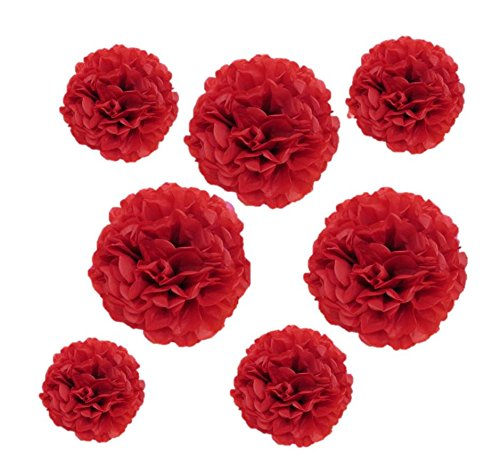 Valentine Red Tissue Paper Flower Pom Pom Balls.12 and 14 Inch Holiday Party Favor Flower Balls Hanging Decor Party Decoration 8 Pack Great DIY Kit For Parties,Birthdays,Weddings,Bridal Showers Etc.