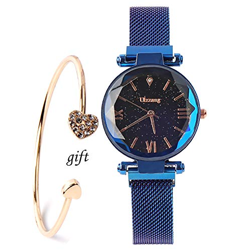 (Fashion Analogue Quartz Ladies Blue Watches Magnetic Mesh Band Starry Sky Dial Simulated Diamond Wrist Watches and Bracelet Set)