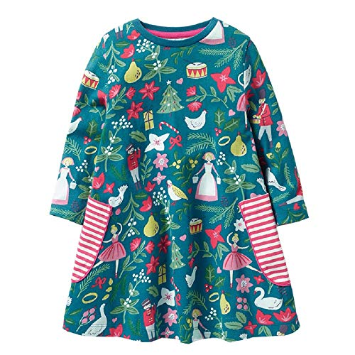 FreeLu Girls' Cotton Casual Longsleeve Party Dresses Special Occasion Cartoon Print Dress (5T, Christmas)