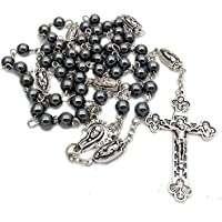 6mm Non Magnetic Hematite Beads Necklace Madonna Retro Cross Catholic Religious Rosary Beads