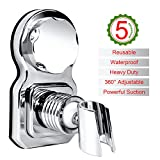 Shower Head Holder Vacuum Suction Cup Shower Bracket 360° Rotatable & Adjustable Height Wall Mount Shower Holder with Adhesive Stick Disc for Bathroom Accessories - No Drilling Required (Silver)