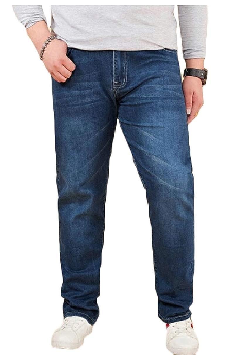 xiaohuoban Mens Stretch Regular Fashion Straight Fit Blue Stonewash Denim Jeans