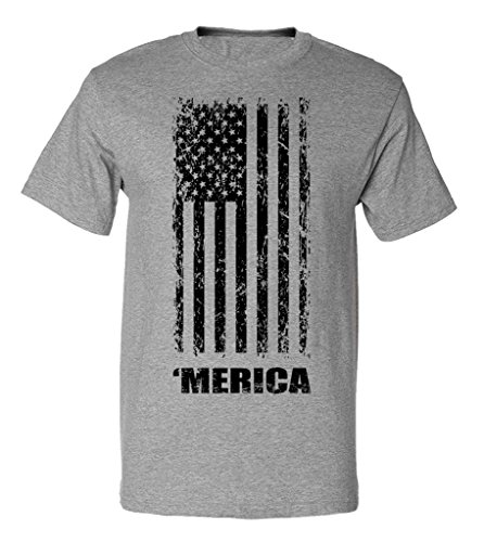 Fourth of July American Flag Graphic Design T-Shirt - 4X-Large (Heather Gray)