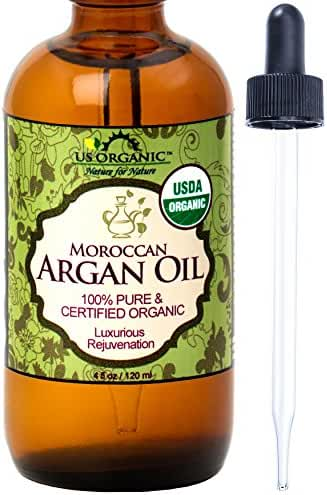 #1 Organic Moroccan Argan Oil, USDA Certified Organic,100% Pure & Natural, Cold Pressed Virgin, Unrefined, Amber Glass Bottle w/ Glass Eye Dropper for Easy Application, US Organic, (4 oz (120ml))