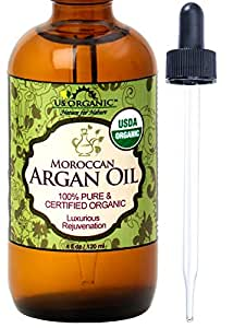 US Organic Moroccan Argan Oil, USDA Certified Organic,100% Pure & Natural, Cold Pressed Virgin, Unrefined, 4 Oz in Amber Glass Bottle with Glass Eye Dropper for Easy Application. Origin_Morocco