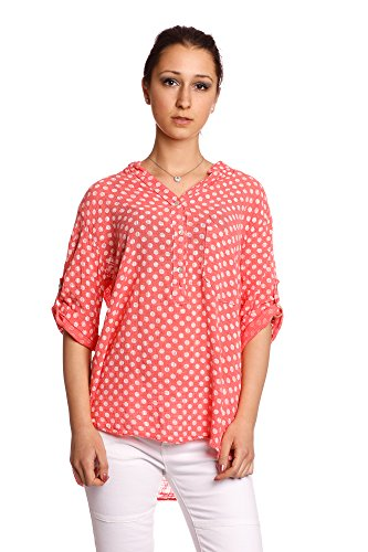 Abbino 8393 Camisas con Puntos Blusas Tops para Mujeres - Hecho en ITALIA - 6 Colores - Entretiempo Primavera Verano Otoño Mujeres Femeninas Elegantes Manga Larga Casual Oficina Fiesta Rebajas Coral Rojo