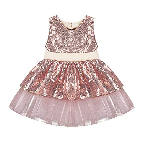 Elegant Toddler Baby Girls Dress Sleeveless Sequins Bow-Knot Party Wedding Dress Princess Tulle Tutu Skirt Outfit (12-18 Months, Rose Gold Party Dress)