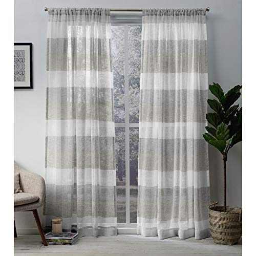 Exclusive Home Curtains Bern Stripe Sheer Window Curtain Panel Pair with Rod Pocket, 54x84, Dove Grey, 2 Piece
