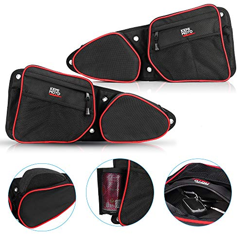 (RZR Side Door Bags, KEMiMOTO UTV Front Door Side Storage Bag Set with Knee Pad for 2014 2015 2016 2017 2018 2019 Polaris RZR XP 1000 900XC S900(See Video for Instruction))