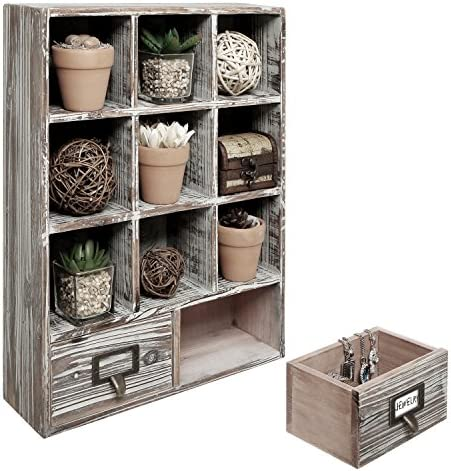 MyGift Rustic Dark Brown Wood Shadow Box 13×17 Inch Wall Mounted Cubby Storage with 2 Drawers Label Holders