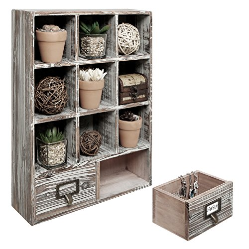 Rustic Dark Brown Wood Shadow Box / 13x17 Inch Wall Mounted Cubby Storage with 2 Drawers & Label Holders
