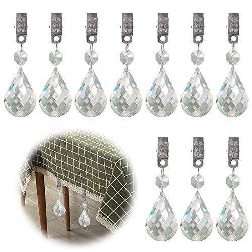 (Glarks Tablecloth Weights Set, 10Pcs Metal Clip AB Crystal Glass Teardrop Prisms Pendant Tablecloth Weights for Picnic Tables Tablecloth Weights Heavy Outdoor (Cucurbit))