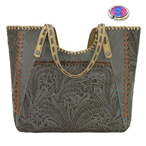 American West Leather -Large Shopper Tote Bag -Purse Holder Bundle (Turquoise - Mesilla) ()