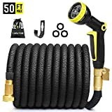 NAYAHOSE 50ft Expandable Garden Hose Expanding Water Hose, Flexible Gardening Hose 50' Car Wash Lightweight Yard Outdoor Cloth Hoses 3/4 Inch 100% Solid Brass Fittings 9 Function Hose Nozzle