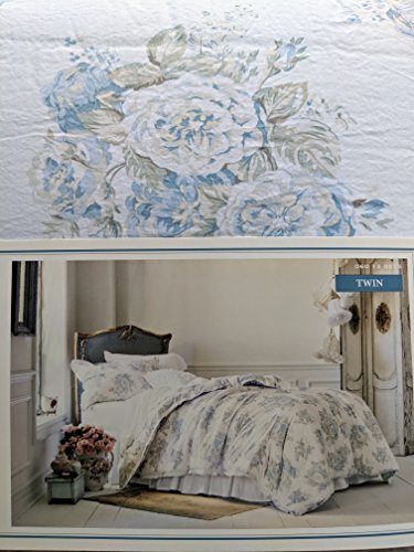 - Simply Shabby Chic Twin Bed Comforter Set Pretty Blue Floral 2 Piece