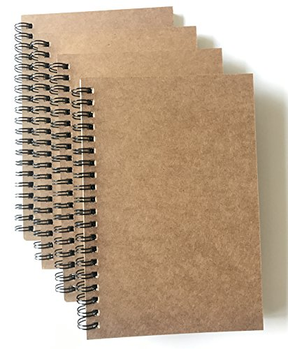 VEEPPO 4 Pack Dot Grid Bulk Notebooks and Journals Spiral Notebooks 4.7 x 7inch Kraft Cardboard Cover Thick 5mm Dotted White Paper (5mm Dot Grid -Pack of 4)