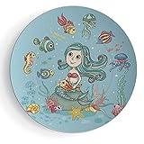 6'' Print Ceramic Plate Mermaid Decor Cartoon Characters Fish and Seashells with Mermaid Girl Rainbow Underwater Animals