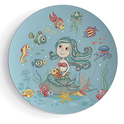 6'' Print Ceramic Plate Mermaid Decor Cartoon Characters Fish and Seashells with Mermaid Girl Rainbow Underwater Animals by iPrint