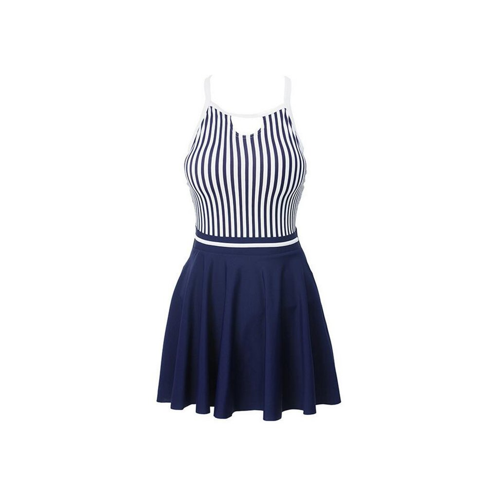 KTYXDE Women's Striped Dress Skirt Swimsuit Conservative SinglePiece Large Size Swimsuit Fashion Charming Hot Spring Beach Running Fitness (Size   L)