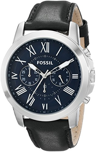 Fossil Men's FS4990 Grant Chronograph Stainless Steel Watch with Black Leather ()