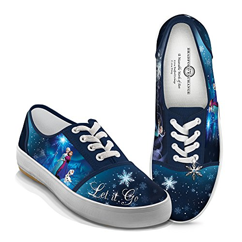 Disney FROZEN Let It Go Women's Canvas Shoes With Elsa, Anna And Olaf: 8.5 by The Bradford Exchange