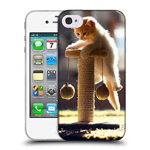 Just Phone Cases Coque de Protection TPU Silicone Case pour // V00004268 pendaison chaton ludique // Apple iPhone 4 4S 4G