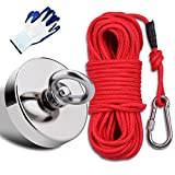 "EVISWIY Fishing Magnets Kit Dia. 67mm 2.63"" 450LBS with Rope 64FT Carabiner Glove Large Strong Rare Earth Neodymium N52 Magnets for Magnet Fishing Treasure Hunting Underwater Retrieving"