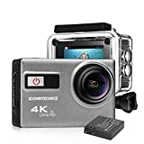 ICONNTECHS IT Ultra HD 4K Sport Action Camera WiFi 1080P 60fps HDMI 20MP+ 170 Degree Wide Viewing Angle Waterproof DV Camcorder for Extreme Outdoor Sports (Gray(2 Batteries))
