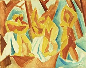 The Linen Canvas of oil painting 'Pablo Picasso-Bathers in a Forests,1908' ,size: 24x30 inch / 61x76 cm ,this High Resolution Art Decorative Canvas Prints is fit for Hallway decor and Home artwork and Gifts