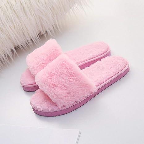 Zapatillas De Algodón,Zapatillas De Algodón, Primavera, Otoño E Invierno Zapatos De Piel Color Rosa Zapatos De Mujer ...