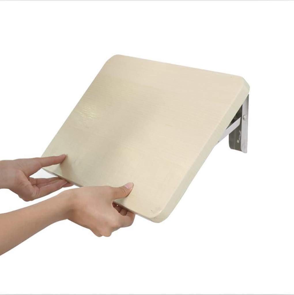 ZCJB Folding Shelf Punch Free, Kitchen Wall Shelf, Bathroom Wall Hanging Shelf, Folding Table, E1 MDF, Stainless Steel Bracket (Size : L50XW31CM)