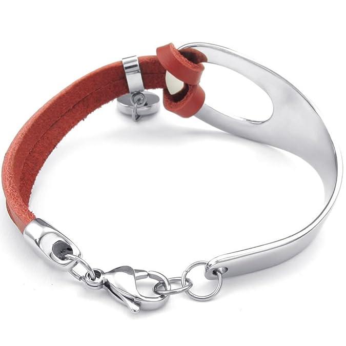 b09732a362a3d Konov Bijoux Bracelet Femme - Classique Manchette - Cuir - Acier Inoxydable  - Fantaisie - Chaîne de Main - Couleur Rouge Argent - Avec Sac Cadeau  KONOV   ...